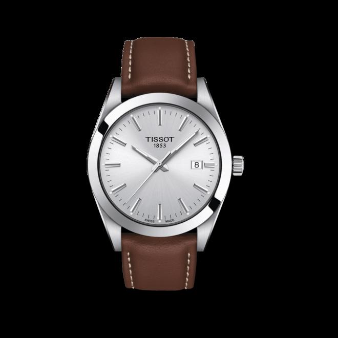 Herrenuhr Tissot Gentleman Quartz mit silberfarbenem Zifferblatt und Rindsleder-Armband bei Brogle
