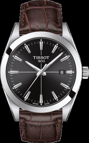 Herrenuhr Tissot Gentleman Quartz mit schwarzem Zifferblatt und Rindsleder-Armband