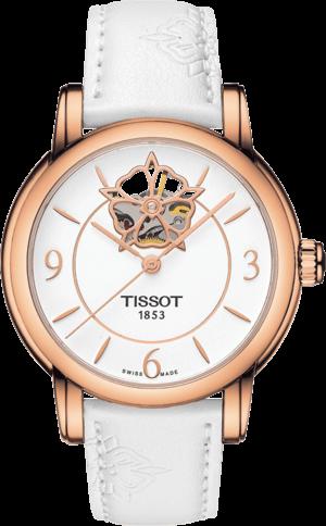 Damenuhr Tissot Lady Heart Automatic mit weißem Zifferblatt und Kalbsleder-Armband