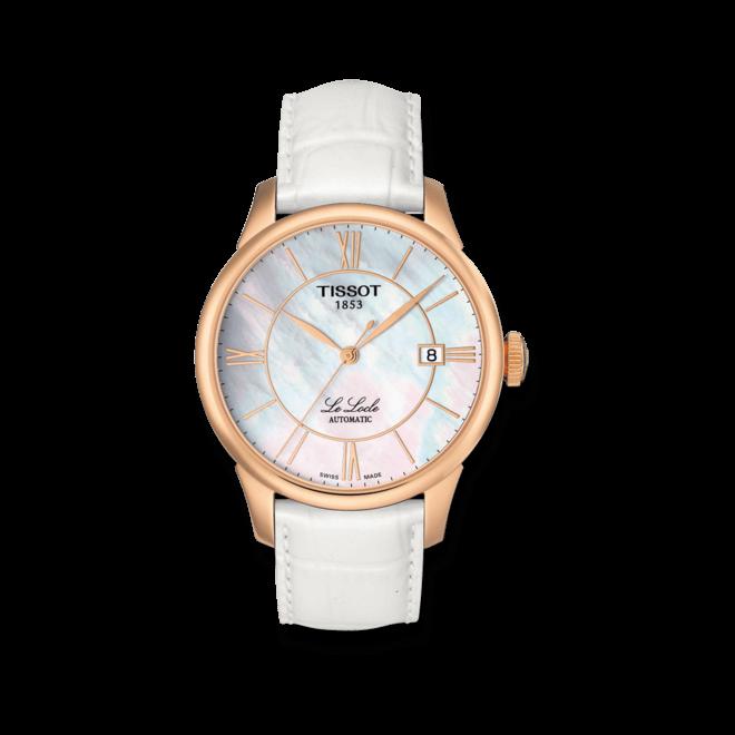 Armbanduhr Tissot Le Locle Automatic Gent mit perlmuttfarbenem Zifferblatt und Armband aus Kalbsleder mit Krokodilprägung