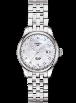 Damenuhr Tissot Le Locle Automatic Lady mit Diamanten, weißem Zifferblatt und Edelstahlarmband