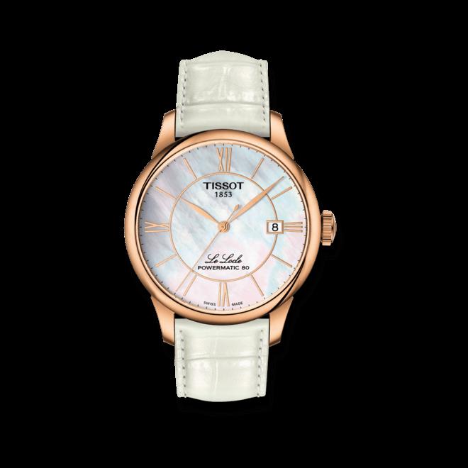 Armbanduhr Tissot Le Locle Automatic mit zweifarbigem Zifferblatt und Armband aus Kalbsleder mit Krokodilprägung