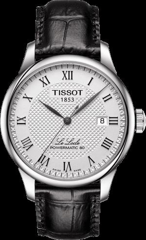 Herrenuhr Tissot Le Locle Powermatic Gent mit silberfarbenem Zifferblatt und Armband aus Kalbsleder mit Krokodilprägung