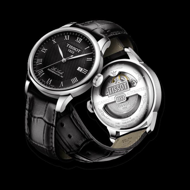 Herrenuhr Tissot Le Locle Powermatic Gent mit schwarzem Zifferblatt und Armband aus Kalbsleder mit Krokodilprägung bei Brogle
