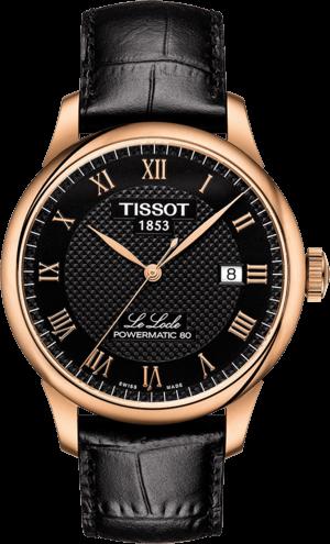 Herrenuhr Tissot Le Locle Powermatic Gent mit schwarzem Zifferblatt und Armband aus Kalbsleder mit Krokodilprägung