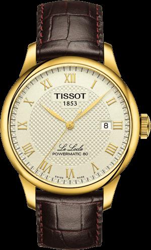 Herrenuhr Tissot Le Locle Powermatic Gent mit weißem Zifferblatt und Armband aus Kalbsleder mit Krokodilprägung