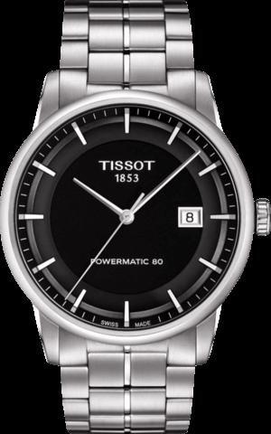 Herrenuhr Tissot Luxury Automatic Gent mit schwarzem Zifferblatt und Edelstahlarmband