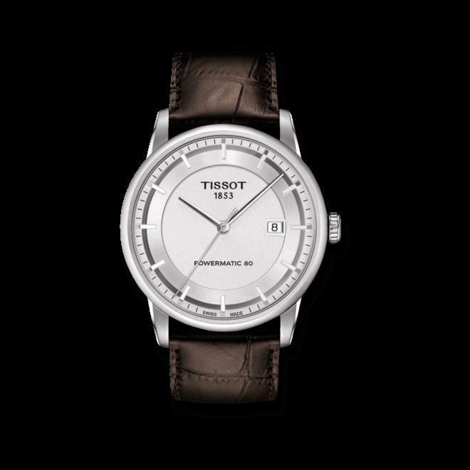 Herrenuhr Tissot Luxury Automatic Gent mit silberfarbenem Zifferblatt und Kalbsleder-Armband