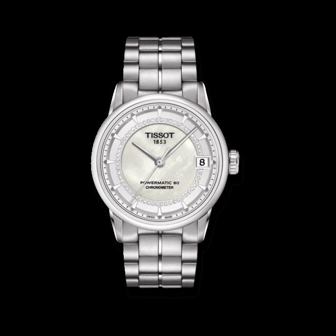 Damenuhr Tissot Luxury Automatic Lady COSC mit Diamanten, weißem Zifferblatt und Edelstahlarmband