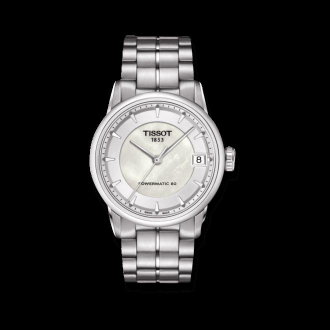 Damenuhr Tissot Luxury Automatic Lady mit weißem Zifferblatt und Edelstahlarmband