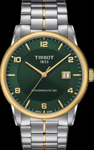 Herrenuhr Tissot Luxury Automatic Powermatic 80 mit grünem Zifferblatt und Edelstahlarmband