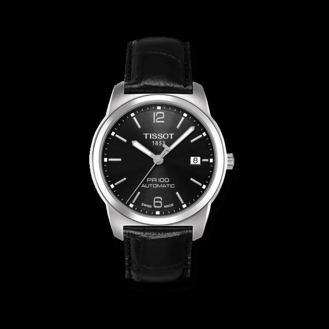 Herrenuhr Tissot PR 100 Automatic Gent mit schwarzem Zifferblatt und Kalbsleder-Armband