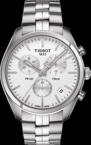 Damenuhr Tissot PR 100 Chronograph Gent mit silberfarbenem Zifferblatt und Edelstahlarmband