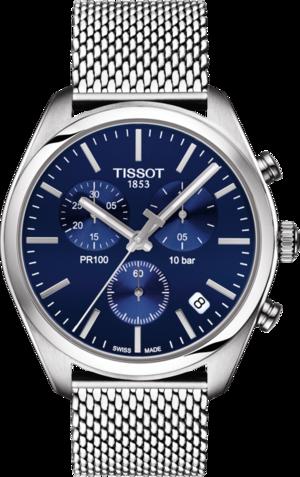 Damenuhr Tissot PR 100 Chronograph Gent mit blauem Zifferblatt und Edelstahlarmband