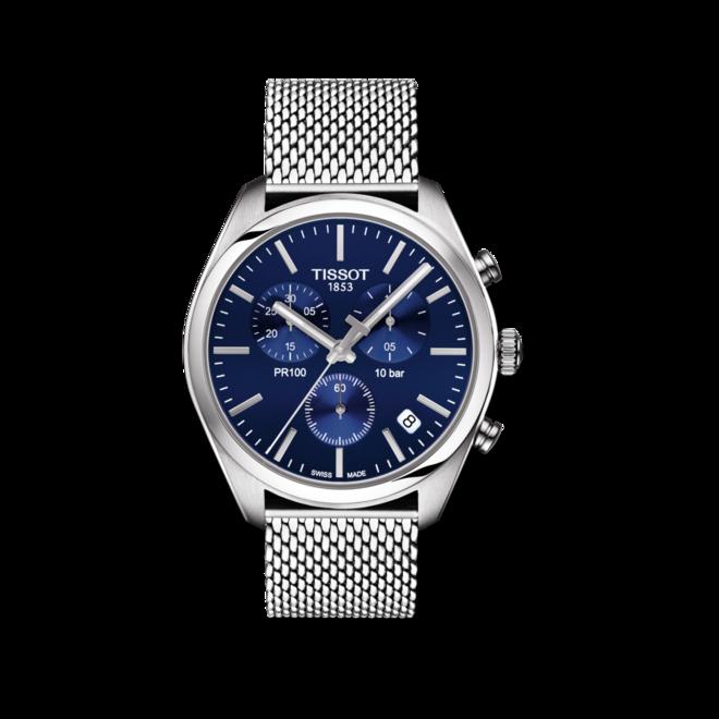 Damenuhr Tissot PR 100 Chronograph Gent mit blauem Zifferblatt und Edelstahlarmband bei Brogle