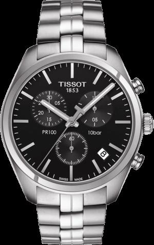 Damenuhr Tissot PR 100 Chronograph Gent mit schwarzem Zifferblatt und Edelstahlarmband