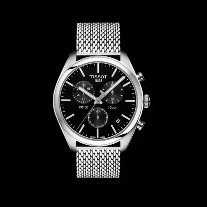 Herrenuhr Tissot PR 100 Chronograph Gent mit schwarzem Zifferblatt und Edelstahlarmband bei Brogle