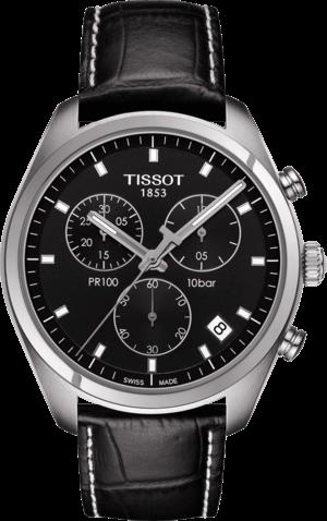 Herrenuhr Tissot PR 100 Chronograph Gent mit schwarzem Zifferblatt und Armband aus Kalbsleder mit Krokodilprägung