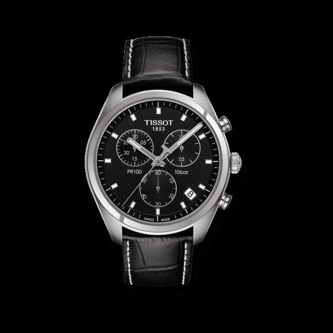 Herrenuhr Tissot PR 100 Chronograph Gent mit schwarzem Zifferblatt und Armband aus Kalbsleder mit Krokodilprägung bei Brogle