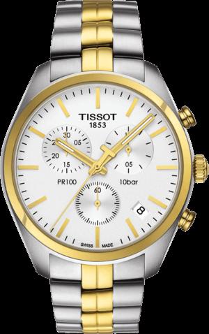 Herrenuhr Tissot PR 100 Chronograph Gent mit silberfarbenem Zifferblatt und Edelstahlarmband
