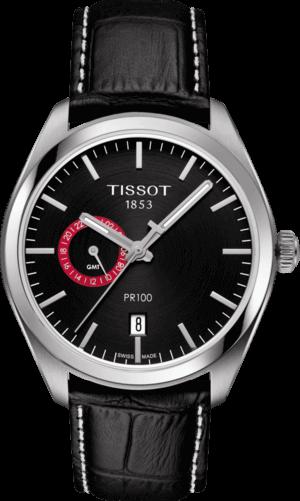 Herrenuhr Tissot PR 100 Dualtime mit schwarzem Zifferblatt und Armband aus Kalbsleder mit Krokodilprägung
