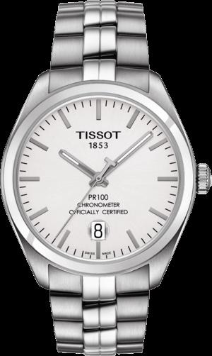 Herrenuhr Tissot PR 100 Powermatic Gent COSC mit silberfarbenem Zifferblatt und Edelstahlarmband