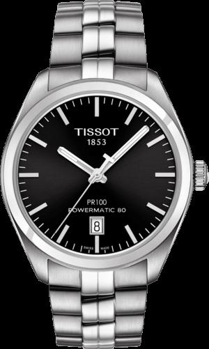 Herrenuhr Tissot PR 100 Powermatic Gent mit schwarzem Zifferblatt und Edelstahlarmband