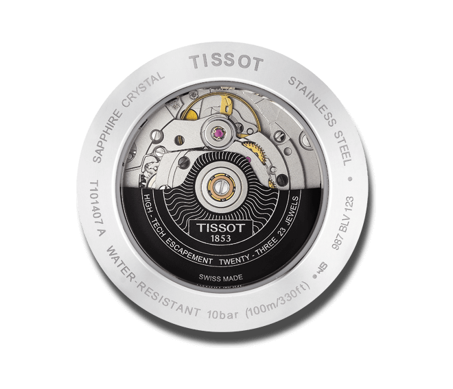 Herrenuhr Tissot PR 100 Powermatic Gent mit grauem Zifferblatt und Armband aus Kalbsleder mit Krokodilprägung bei Brogle