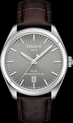 Herrenuhr Tissot PR 100 Powermatic Gent mit grauem Zifferblatt und Armband aus Kalbsleder mit Krokodilprägung