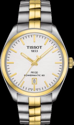 Herrenuhr Tissot PR 100 Powermatic Gent mit weißem Zifferblatt und Edelstahlarmband