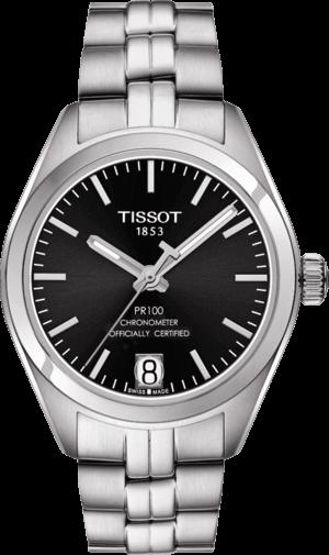 Damenuhr Tissot PR 100 Powermatic Lady COSC mit schwarzem Zifferblatt und Edelstahlarmband