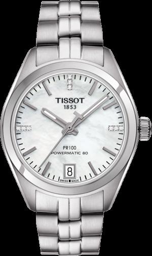 Damenuhr Tissot PR 100 Powermatic Lady mit Diamanten, perlmuttfarbenem Zifferblatt und Edelstahlarmband
