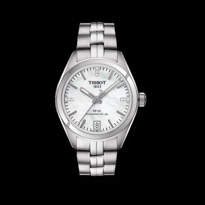 Damenuhr Tissot PR 100 Powermatic Lady mit Diamanten, perlmuttfarbenem Zifferblatt und Edelstahlarmband bei Brogle