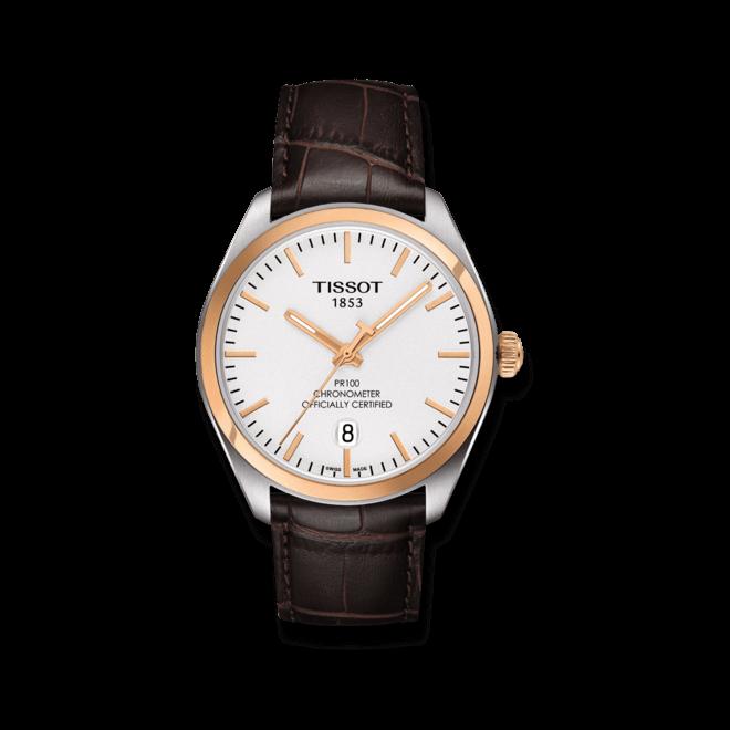 Herrenuhr Tissot PR 100 Quartz Gent COSC mit silberfarbenem Zifferblatt und Kalbsleder-Armband