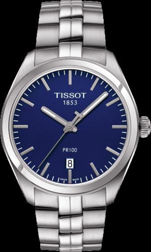 Herrenuhr Tissot PR 100 Quartz Gent mit blauem Zifferblatt und Edelstahlarmband