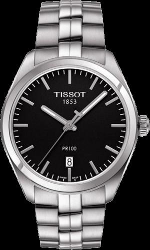 Herrenuhr Tissot PR 100 Quartz Gent mit schwarzem Zifferblatt und Edelstahlarmband