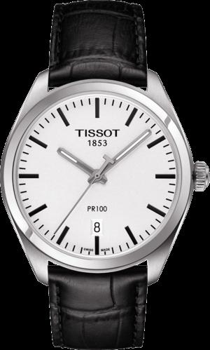 Herrenuhr Tissot PR 100 Quartz Gent mit silberfarbenem Zifferblatt und Armband aus Kalbsleder mit Krokodilprägung