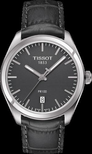 Herrenuhr Tissot PR 100 Quartz Gent mit grauem Zifferblatt und Armband aus Kalbsleder mit Krokodilprägung