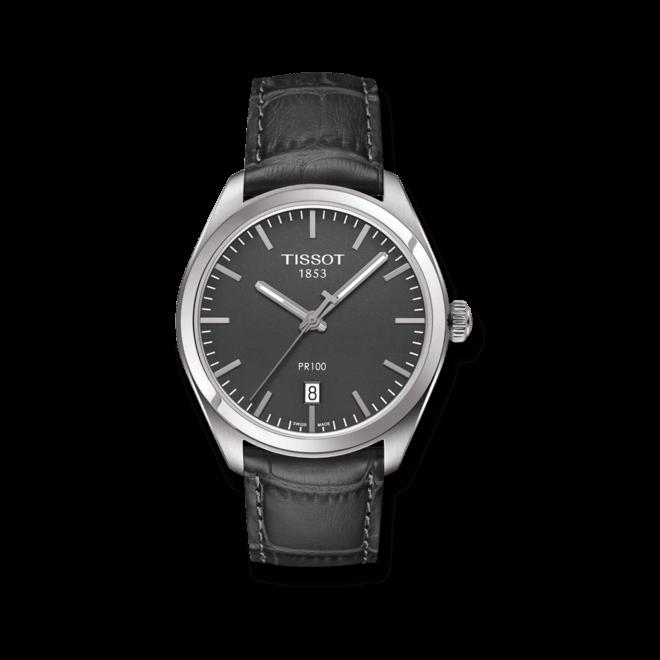 Herrenuhr Tissot PR 100 Quartz Gent mit grauem Zifferblatt und Armband aus Kalbsleder mit Krokodilprägung bei Brogle