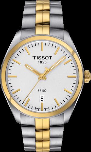 Herrenuhr Tissot PR 100 Quartz Gent mit silberfarbenem Zifferblatt und Edelstahlarmband