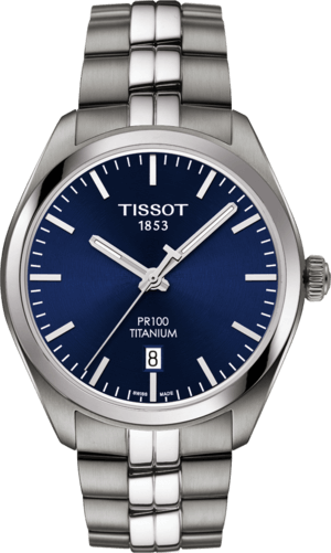 Herrenuhr Tissot PR 100 Quartz Gent Titanium mit blauem Zifferblatt und Titanarmband