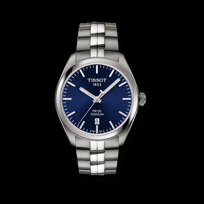 Herrenuhr Tissot PR 100 Quartz Gent Titanium mit blauem Zifferblatt und Titanarmband bei Brogle