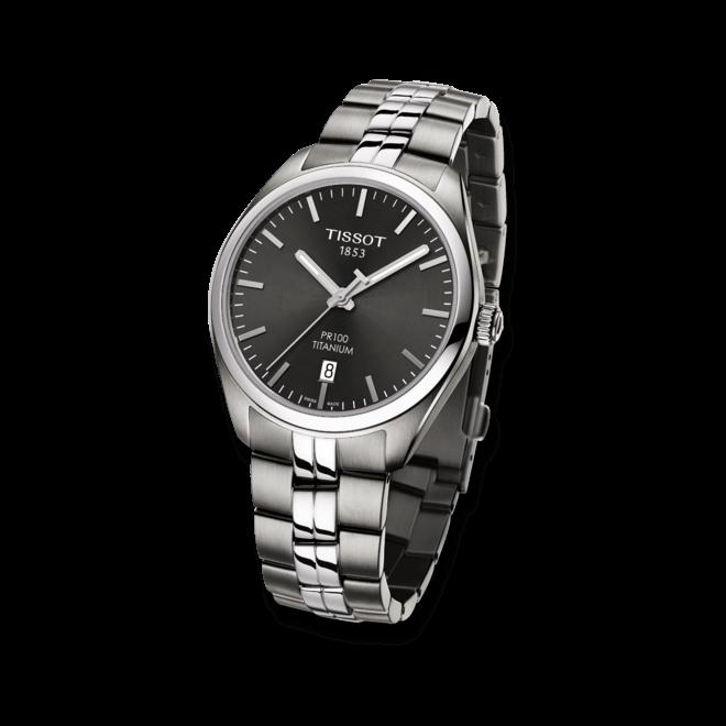 Herrenuhr Tissot PR 100 Quartz Gent Titanium mit schwarzem Zifferblatt und Titanarmband