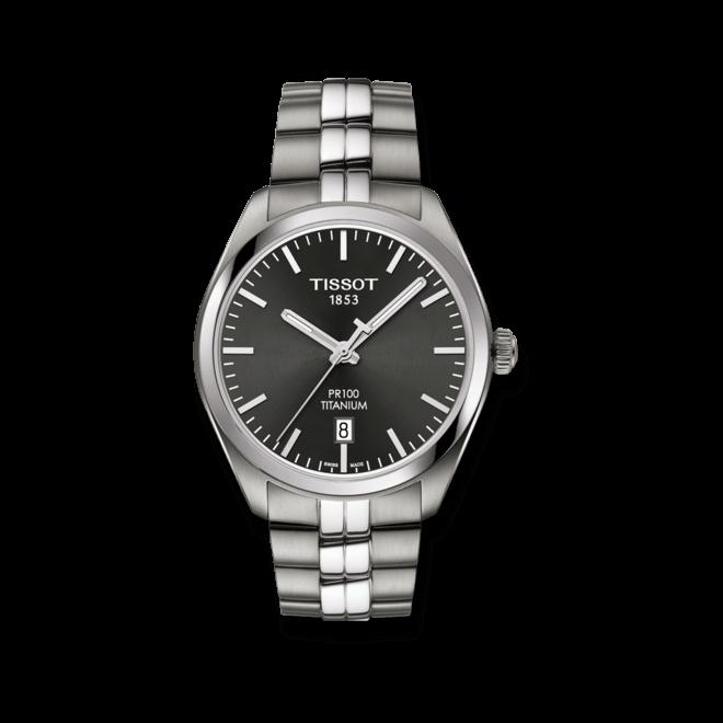 Herrenuhr Tissot PR 100 Quartz Gent Titanium mit schwarzem Zifferblatt und Titanarmband bei Brogle