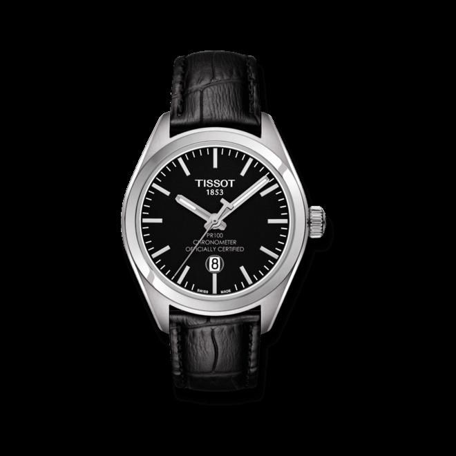 Damenuhr Tissot PR 100 Quartz Lady COSC mit schwarzem Zifferblatt und Armband aus Kalbsleder mit Krokodilprägung
