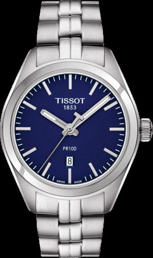 Damenuhr Tissot PR 100 Quartz Lady mit blauem Zifferblatt und Edelstahlarmband