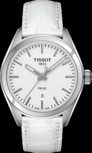 Damenuhr Tissot PR 100 Quartz Lady mit silberfarbenem Zifferblatt und Armband aus Kalbsleder mit Krokodilprägung