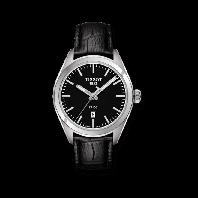 Damenuhr Tissot PR 100 Quartz Lady mit schwarzem Zifferblatt und Kalbsleder-Armband bei Brogle
