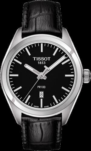 Damenuhr Tissot PR 100 Quartz Lady mit schwarzem Zifferblatt und Kalbsleder-Armband