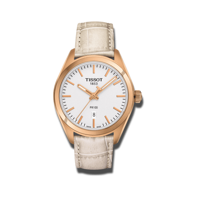 Damenuhr Tissot PR 100 Quartz Lady mit silberfarbenem Zifferblatt und Kalbsleder-Armband bei Brogle